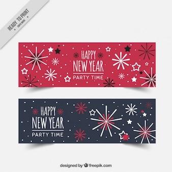 Banners retro de año nuevo de fuegos artificiales