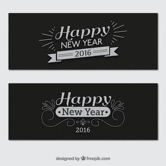 Banners retro de año nuevo