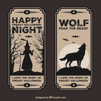 Banners retro de halloween