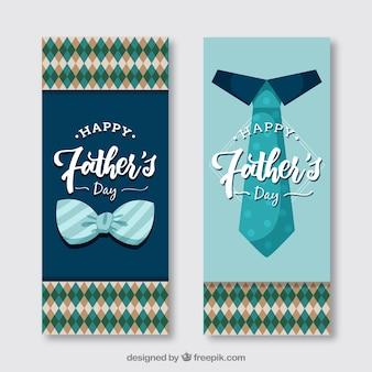 Banners retro del día del padre con pajarita y corbata