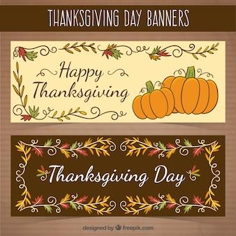 Banners retro florales del día de acción de gracias