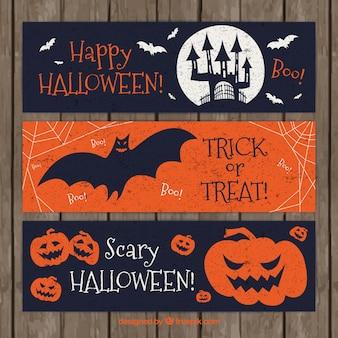 Banners retro para celebrar halloween