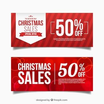 Banners rojos abstractos de descuentos de navidad