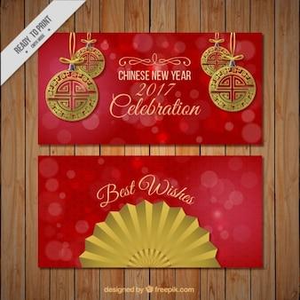 Banners rojos de año nuevo chino