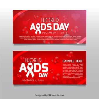 Banners rojos del día mundial del sida
