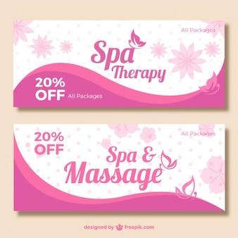 Banners rosa de spa