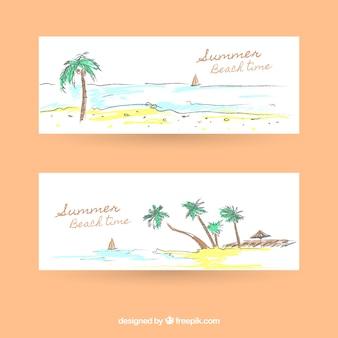 Banners veraniegos de playa de acuarela