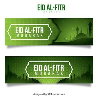 Banners verdes de eid al fitr