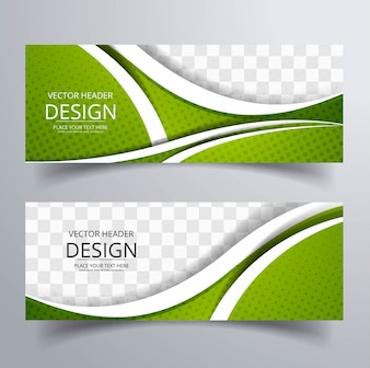 Banners verdes ondulados modernos