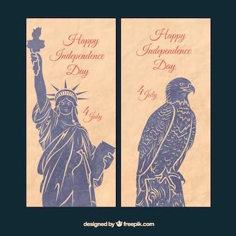 Banners vintage americanos pintados a mano