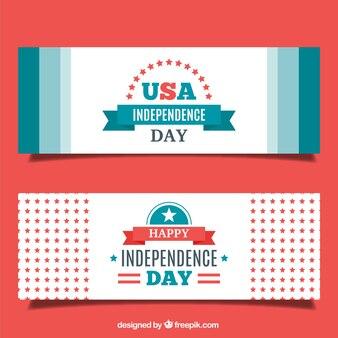 Banners vintage de america en diseño plano