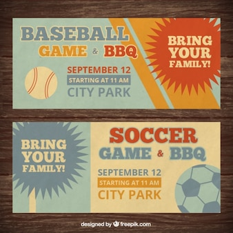 Banners vintage de béisbol y fútbol