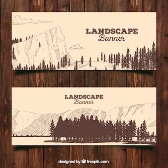 Banners vintage de bosques