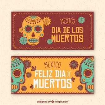 Banners vintage de calaveras mexicanas decorativas