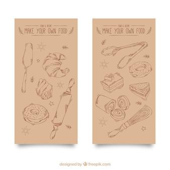 Banners vintage de elementos de panadería dibujados a mano