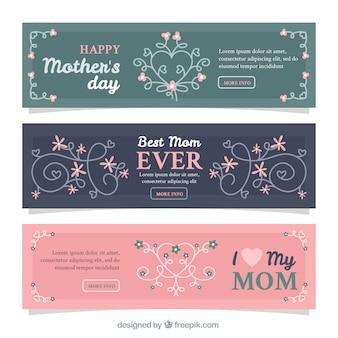 Banners vintage del día de la madre
