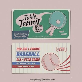 Banners vintage dibujados a mano de ping pong y béisbol