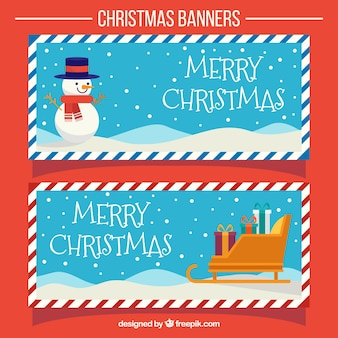 Banners vintage navideños con trineo y muñeco de nieve