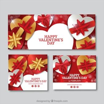 Banners y tarjetas de San Valentín con regalos