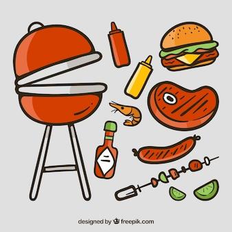 Barbacoa dibujada a mano con comida sabrosa