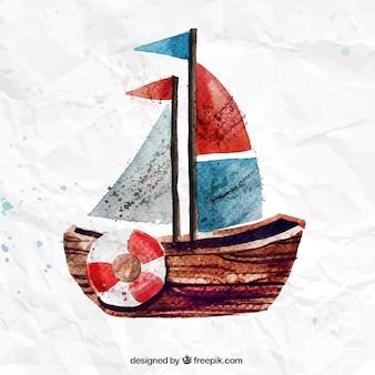 Barco pintado a mano