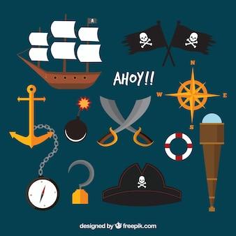 Barco pirata con elementos tradicionales