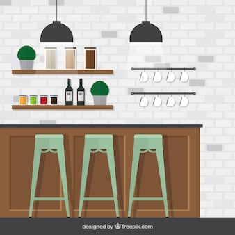 Barra de bar con muro de ladrillos