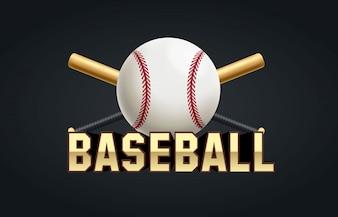 Bate de béisbol y pelota con objetos realistas de texto
