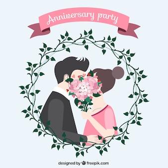 Beso adorable de fiesta de aniversario