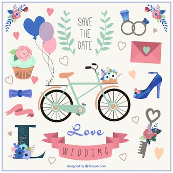 bicicleta lindo y elementos de la boda