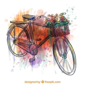 Bicicleta pintada a mano con pinceladas de acuarela