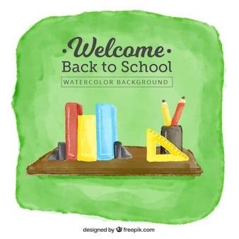 Bienvenido de nuevo a la escuela de fondo en acuarela