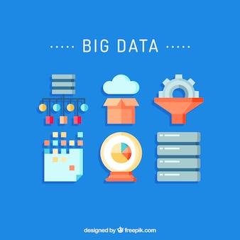 Big data y tecnología icono conjunto