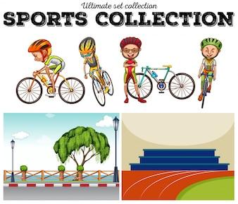 Bikers con la bicicleta y las escenas de carreras ilustración
