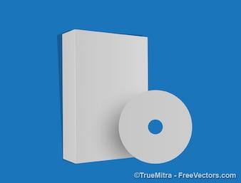 Blanco cd paquete sobre fondo azul
