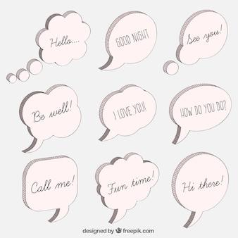 Boadillos de diálogo con mensajes dibujados a mano