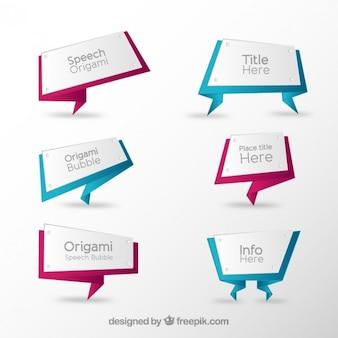 Bocadillos de diálogo de origami en estilo geométrico