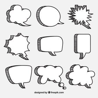 Bocadillos de diálogo dibujados a mano en estilo cómic