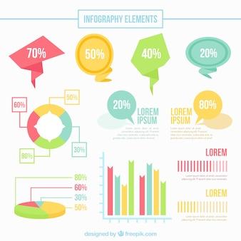 Bocadillos de diálogo y elementos infográficos