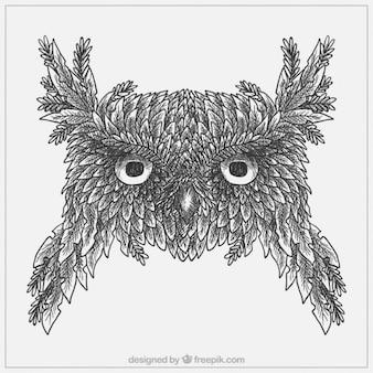 Boceto de búho hecho de hojas