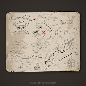 Boceto de mapa de aventura pirata