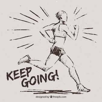 Boceto de mujer corriendo con mensaje inspirador