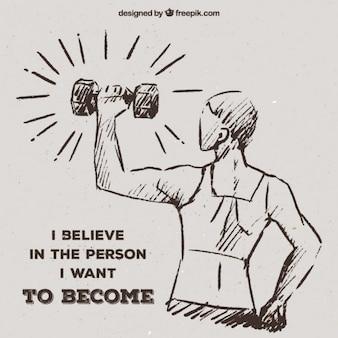 Boceto de mujer levantando pesas con inspirador mensaje
