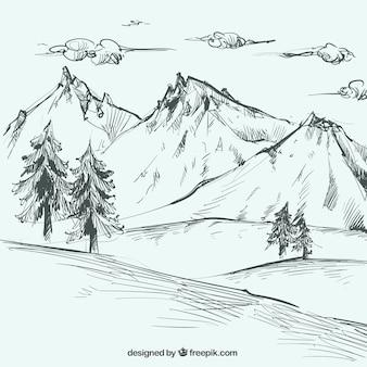 Boceto de paisaje con montañas y pinos