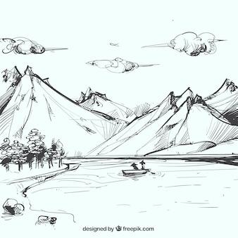 Boceto de paisaje montañoso con lago