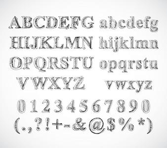 Boceto dibujado a mano alfabeto letras de fuente en blanco y negro números y símbolos aislados ilustración vectorial