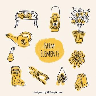Bocetos de accesorios de granja en color amarillo
