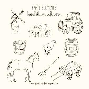 Bocetos de accesorios de granja y animales