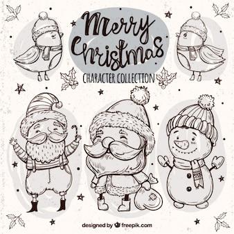 Bocetos de adorables pájaros y personajes de navidad