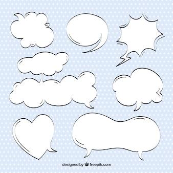 Bocetos de bocadillos de diálogo de comic